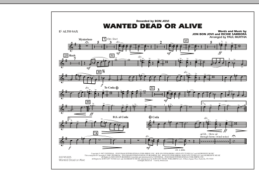 Paul Murtha Wanted Dead or Alive - Eb Alto Sax sheet music notes and chords