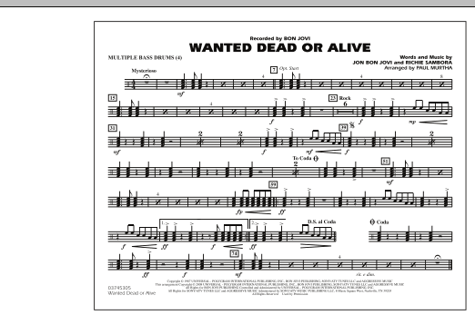 Paul Murtha Wanted Dead or Alive - Multiple Bass Drums sheet music notes and chords