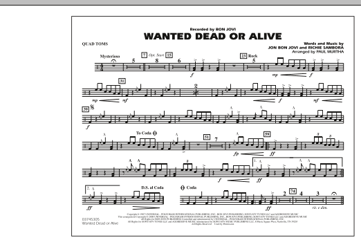 Paul Murtha Wanted Dead or Alive - Quad Toms sheet music notes and chords