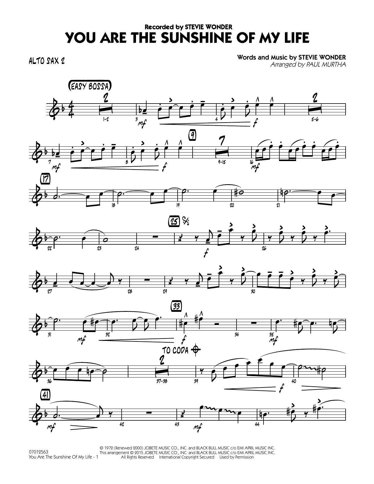 Paul Murtha You Are the Sunshine of My Life - Alto Sax 2 sheet music notes and chords. Download Printable PDF.
