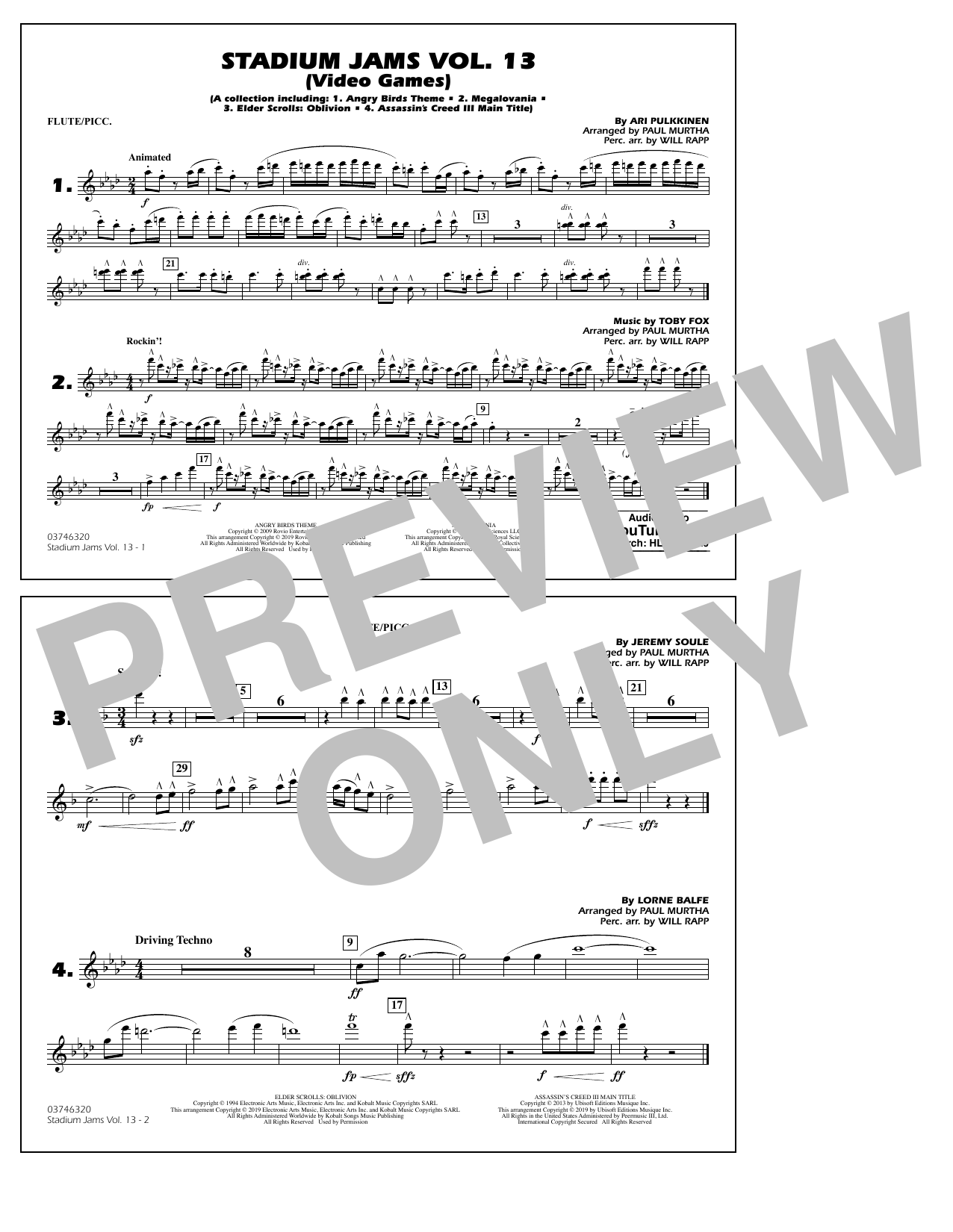 Paul Murtha & Will Rapp Stadium Jams Volume 13 (Video Games) - Flute/Piccolo sheet music notes and chords