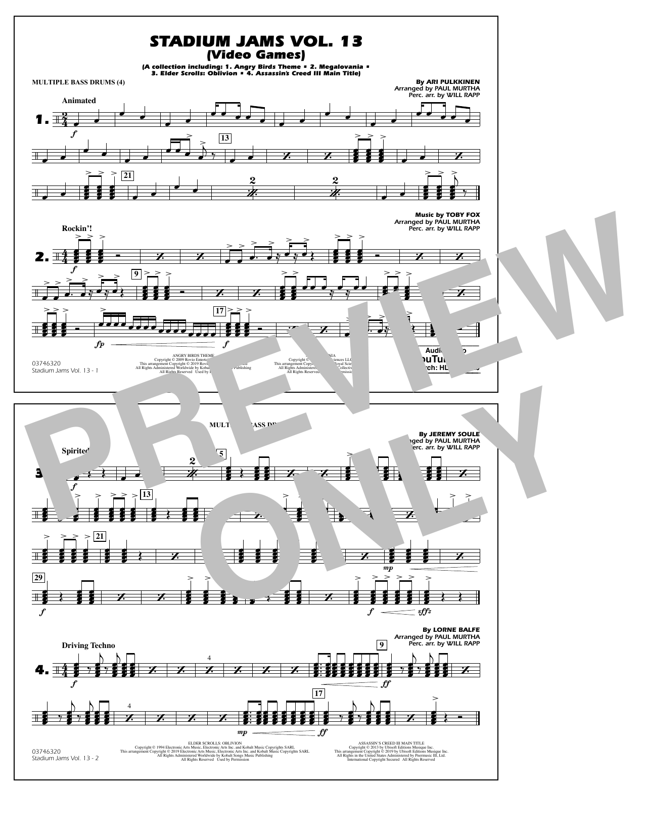 Paul Murtha & Will Rapp Stadium Jams Volume 13 (Video Games) - Multiple Bass Drums sheet music notes and chords