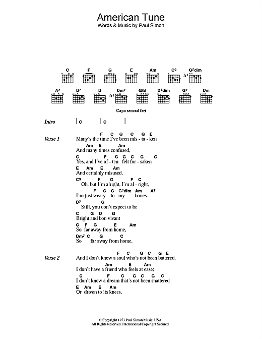 Paul Simon American Tune sheet music notes and chords. Download Printable PDF.