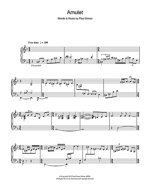 Paul Simon Amulet sheet music notes and chords