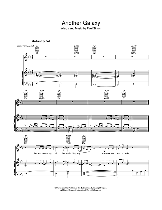 Paul Simon Another Galaxy sheet music notes and chords. Download Printable PDF.