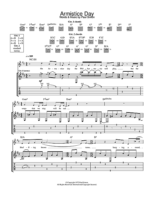 Paul Simon Armistice Day sheet music notes and chords. Download Printable PDF.