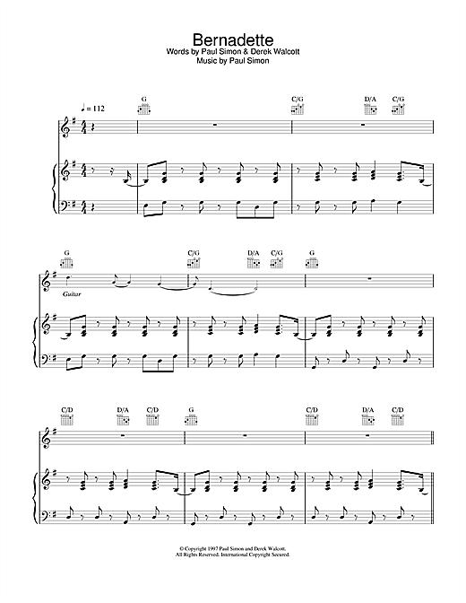 Paul Simon Bernadette sheet music notes and chords