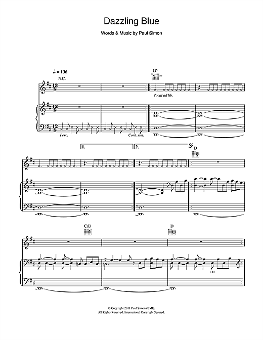 Paul Simon Dazzling Blue sheet music notes and chords. Download Printable PDF.