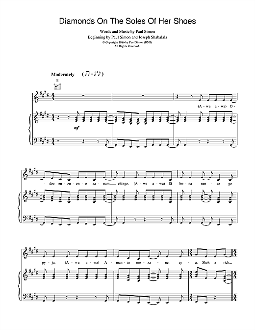 Paul Simon Diamonds On The Soles Of Her Shoes sheet music notes and chords