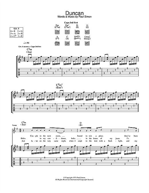 Paul Simon Duncan sheet music notes and chords. Download Printable PDF.