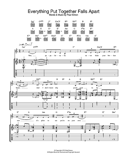Paul Simon Everything Put Together Falls Apart sheet music notes and chords. Download Printable PDF.