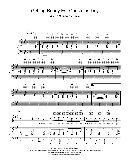 Paul Simon Getting Ready For Christmas Day sheet music notes and chords. Download Printable PDF.