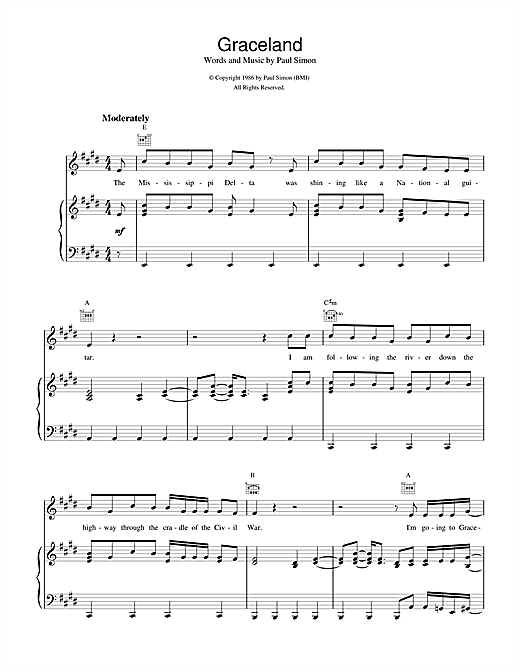 Paul Simon Graceland sheet music notes and chords