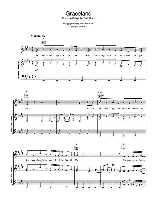 Paul Simon Graceland sheet music notes and chords. Download Printable PDF.