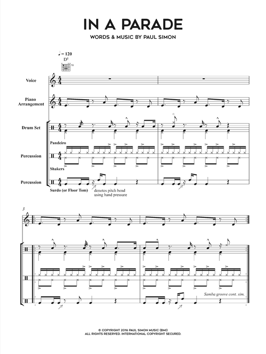 Paul Simon In A Parade sheet music notes and chords