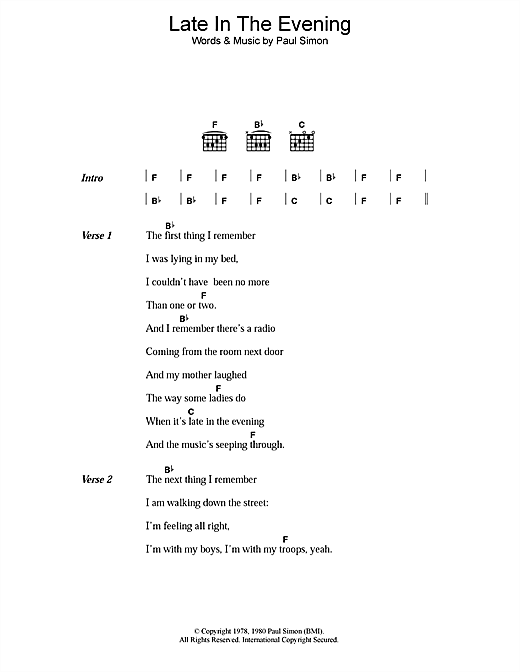 Paul Simon Late In The Evening sheet music notes and chords. Download Printable PDF.