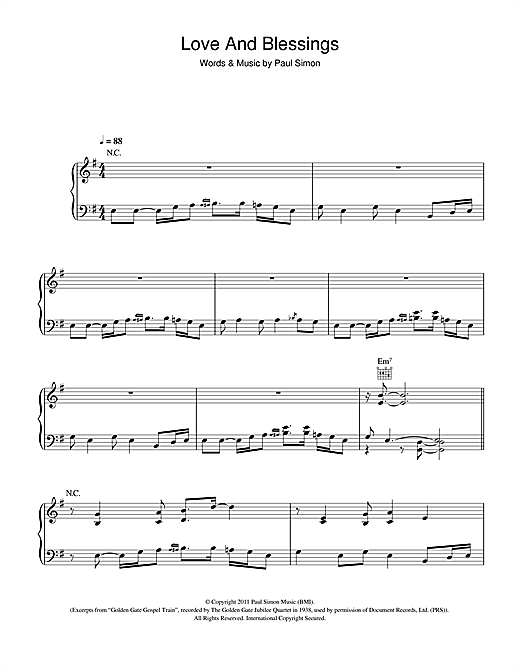Paul Simon Love And Blessings sheet music notes and chords. Download Printable PDF.