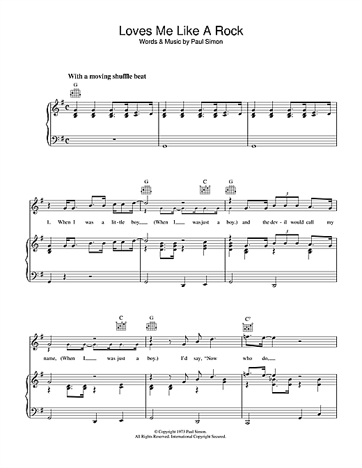Paul Simon Loves Me Like A Rock sheet music notes and chords. Download Printable PDF.