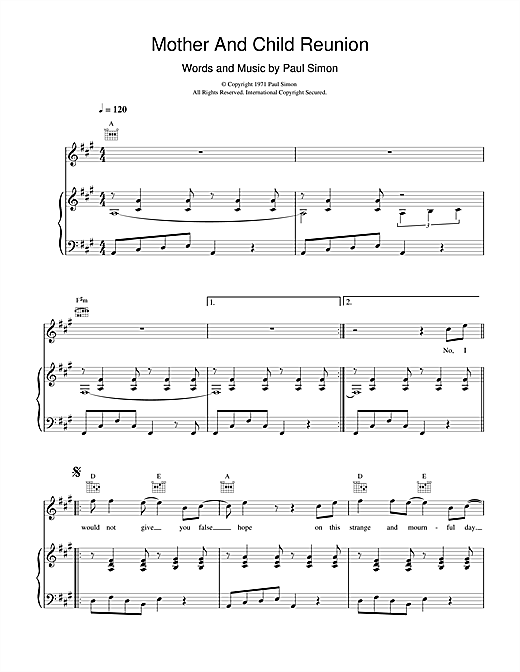 Paul Simon Mother And Child Reunion sheet music notes and chords. Download Printable PDF.