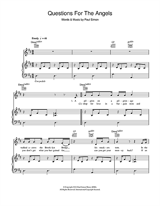 Paul Simon Questions For The Angels sheet music notes and chords. Download Printable PDF.