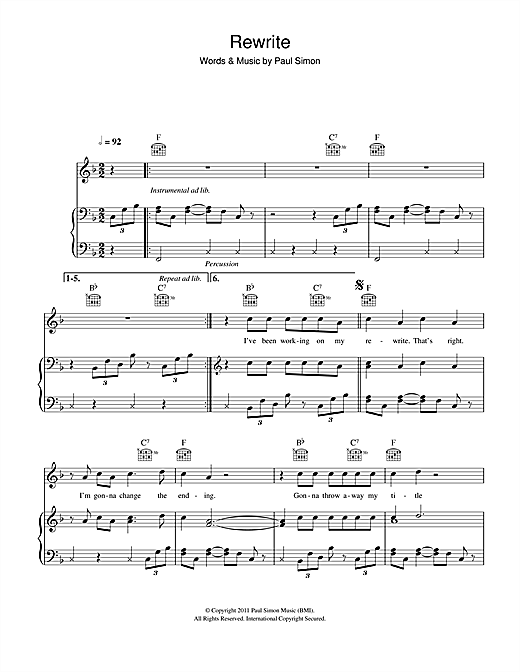 Paul Simon Rewrite sheet music notes and chords. Download Printable PDF.
