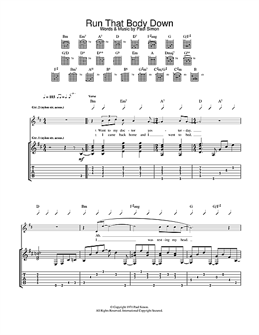 Paul Simon Run That Body Down sheet music notes and chords. Download Printable PDF.