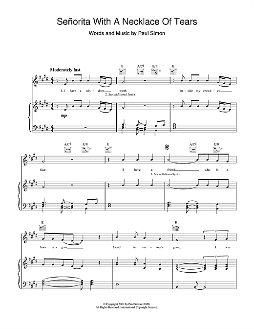 Paul Simon Senorita with a Necklace of Tears sheet music notes and chords