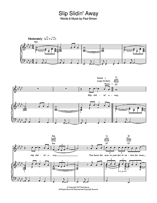 Paul Simon Slip Slidin' Away sheet music notes and chords. Download Printable PDF.