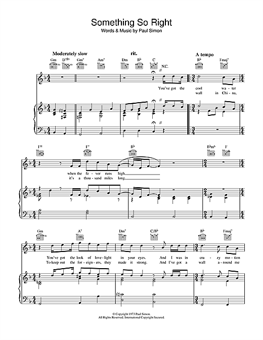 Paul Simon Something So Right sheet music notes and chords. Download Printable PDF.