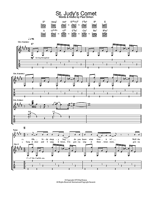 Paul Simon St. Judy's Comet sheet music notes and chords. Download Printable PDF.