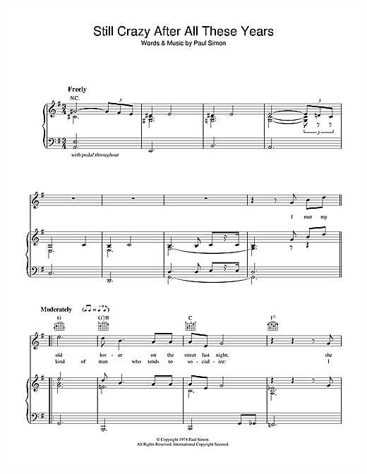 Paul Simon Still Crazy After All These Years sheet music notes and chords. Download Printable PDF.