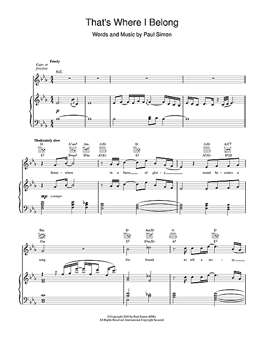 Paul Simon That's Where I Belong sheet music notes and chords