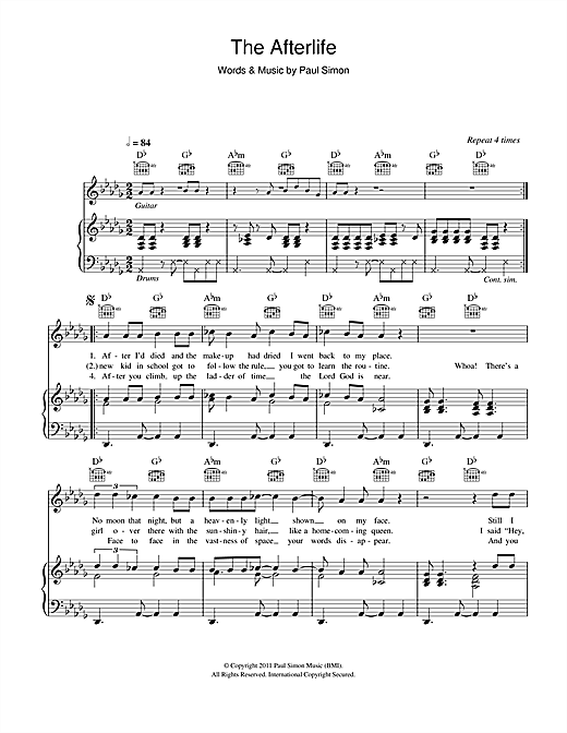 Paul Simon The Afterlife sheet music notes and chords. Download Printable PDF.