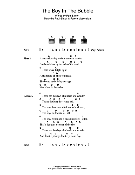 Paul Simon The Boy In The Bubble sheet music notes and chords. Download Printable PDF.