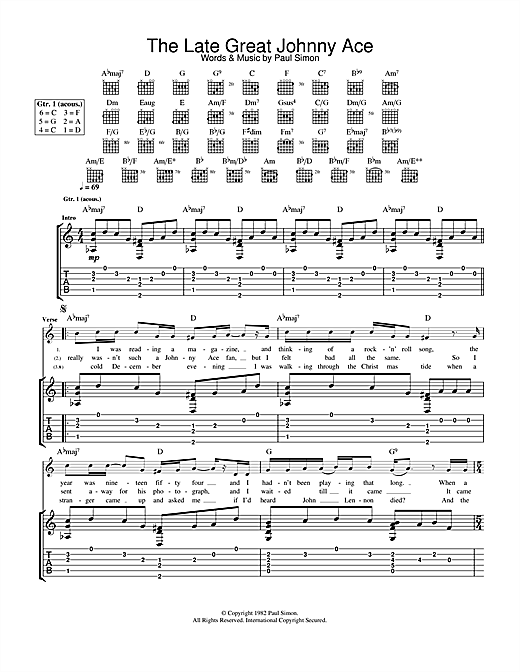 Paul Simon The Late Great Johnny Ace sheet music notes and chords. Download Printable PDF.
