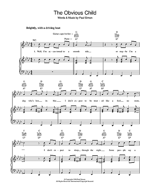 Paul Simon The Obvious Child sheet music notes and chords. Download Printable PDF.