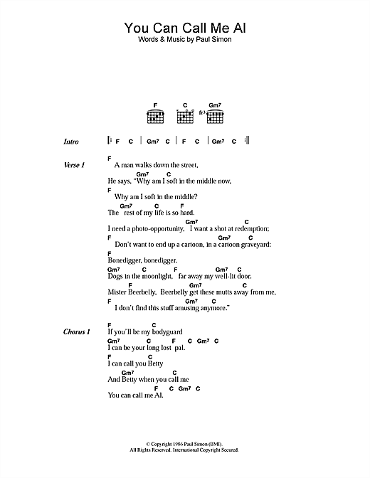 Paul Simon You Can Call Me Al sheet music notes and chords. Download Printable PDF.