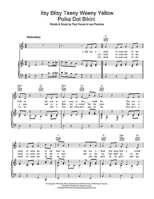 Paul Vance Itsy Bitsy Teenie Weenie Yellow Polka Dot Bikini sheet music notes and chords. Download Printable PDF.