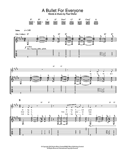 Paul Weller A Bullet For Everyone sheet music notes and chords