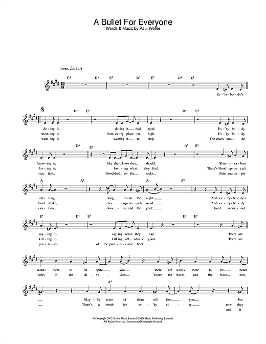 Paul Weller A Bullet For Everyone sheet music notes and chords. Download Printable PDF.