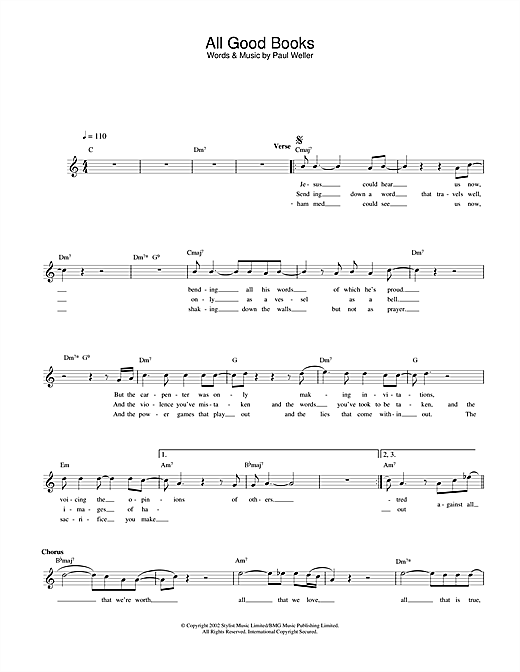 Paul Weller All Good Books sheet music notes and chords. Download Printable PDF.