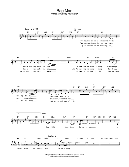 Paul Weller Bag Man sheet music notes and chords. Download Printable PDF.
