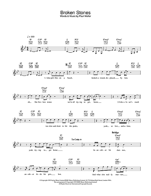 Paul Weller Broken Stones sheet music notes and chords. Download Printable PDF.