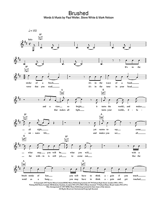 Paul Weller Brushed sheet music notes and chords. Download Printable PDF.