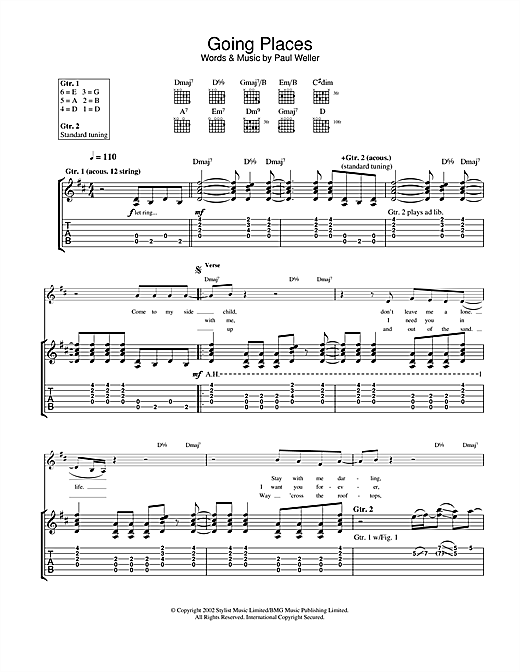 Paul Weller Going Places sheet music notes and chords
