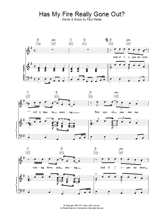 Paul Weller Has My Fire Really Gone Out? sheet music notes and chords. Download Printable PDF.