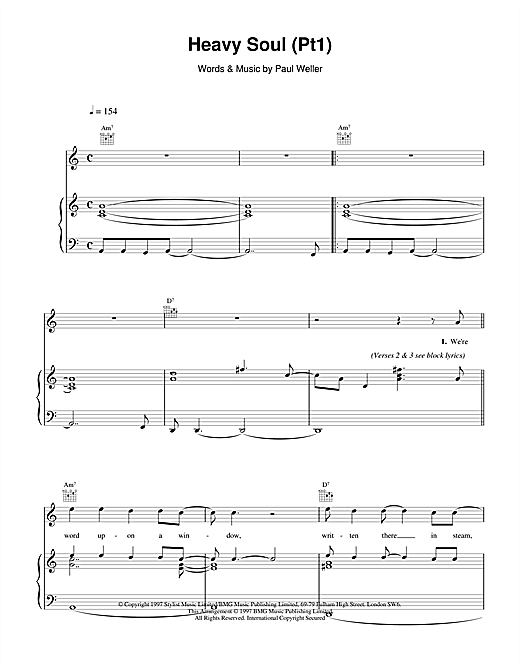 Paul Weller Heavy Soul (Pt1) sheet music notes and chords. Download Printable PDF.