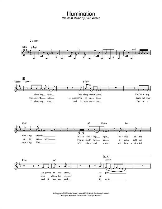 Paul Weller Illumination sheet music notes and chords. Download Printable PDF.