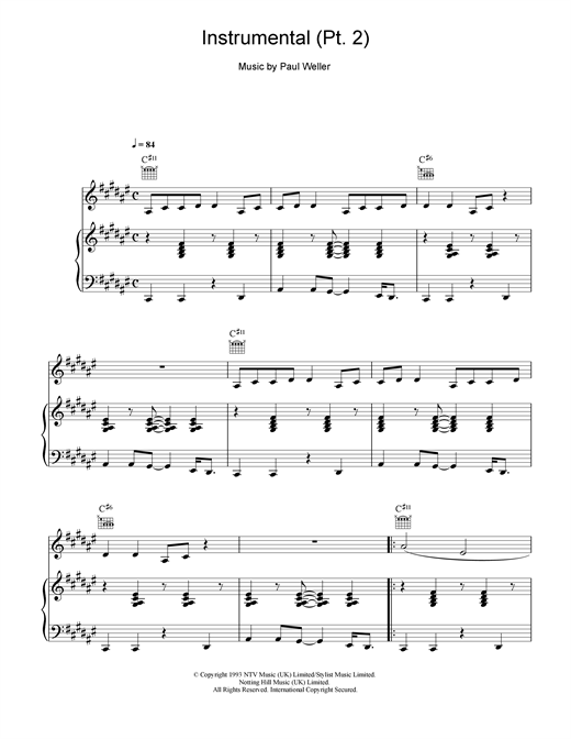 Paul Weller Instrumental (pt2) sheet music notes and chords. Download Printable PDF.
