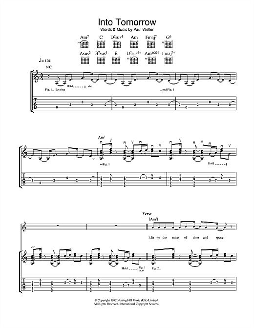 Paul Weller Into Tomorrow sheet music notes and chords. Download Printable PDF.